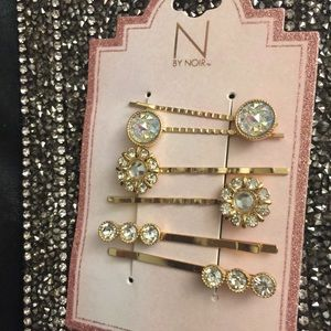 Gold Bridle Crystal Hairpins